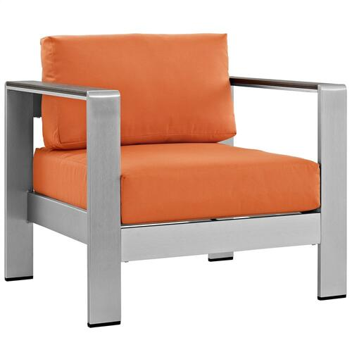 Modway - Shore 3 Piece Outdoor Patio Aluminum Set in Silver Orange