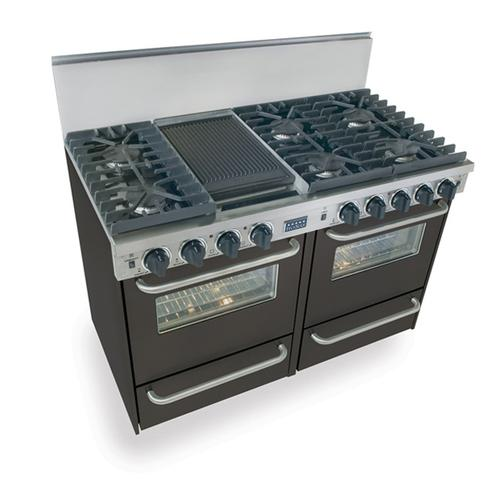 """48"""" All Gas, Convection, Sealed Burners, Black"""