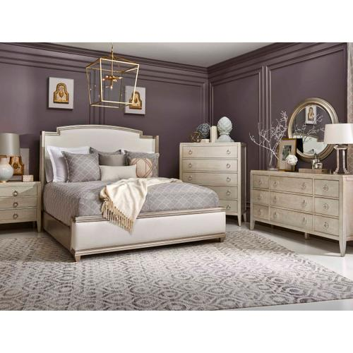 Miles Upholstered King Bed Powder Glam Polished Nickel
