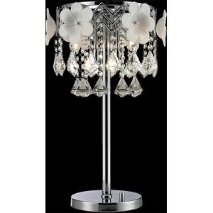 Table Lamp, Chrome/flower/crystals, Type Jcd/g9 40wx5
