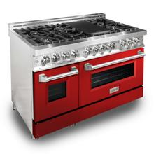 """See Details - ZLINE 48"""" Professional Dual Fuel Range in Stainless Steel (RA48) [Color: Red Gloss]"""