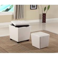 Fun Color 2 in 1 Storage Ottoman w/ Stool Snow White