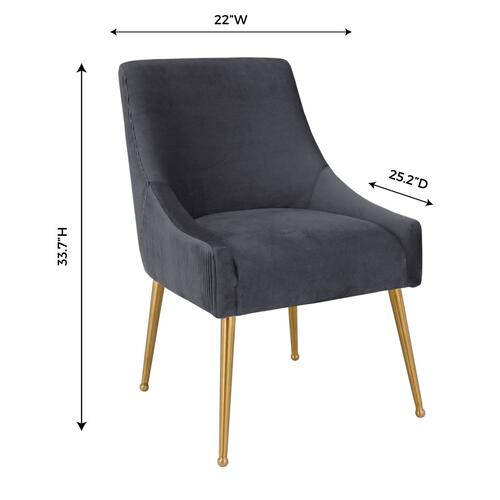 Beatrix Pleated Grey Velvet Side Chair