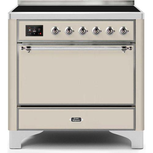Majestic II 36 Inch Electric Freestanding Range in Antique White with Chrome Trim
