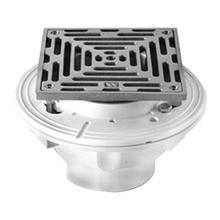 "6"" Square Complete Shower Drain - PVC - Brushed Nickel"