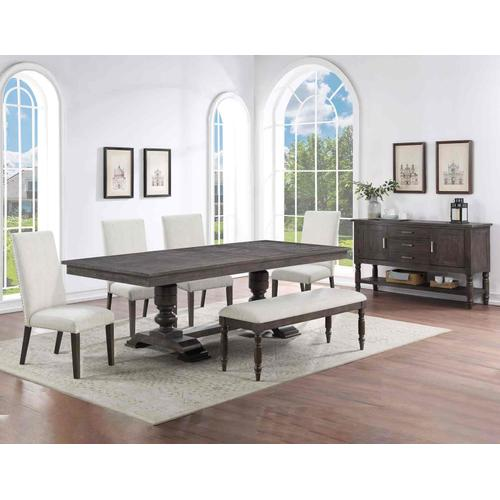 Steve Silver Co. - Hutchins 6-Piece Dining Set, Upholstered Chairs (Table, 4 Side Chairs & Bench)