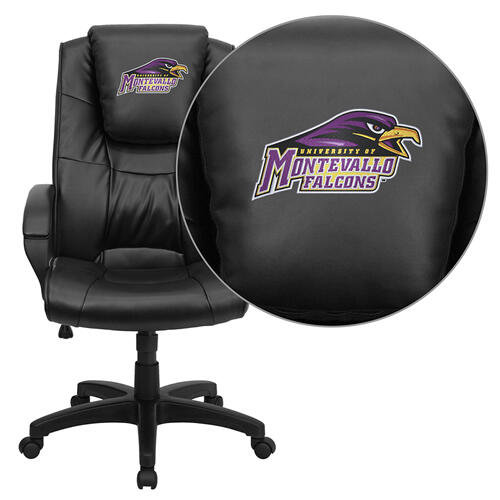 Montevallo Falcons Embroidered Black Leather Executive Office Chair