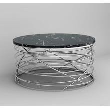 Emerald Home Amherst T7116-00 Round Cocktail Table Black Marble Top W/stainless Base Brushed Stainless Steel