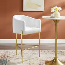 Savour Tufted Performance Velvet Bar Stool in White