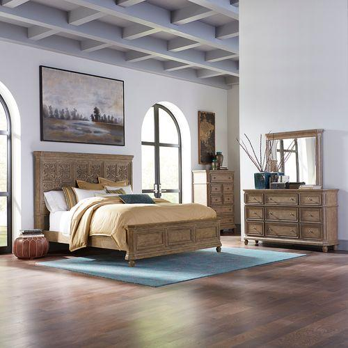 King Opt Panel Bed, Dresser & Mirror, Chest