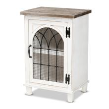 See Details - Baxton Studio Faron Classic and Traditional Farmhouse Two-Tone Distressed White and Oak Brown Finished Wood 1-Door Nightstand