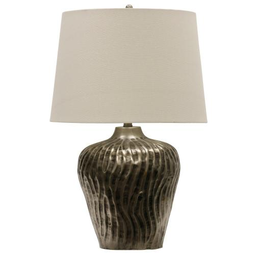 Product Image - Nickel Antique  Transitional Embossed Metal Table Lamp  150W  3-Way  Hardback Shade 8 silver