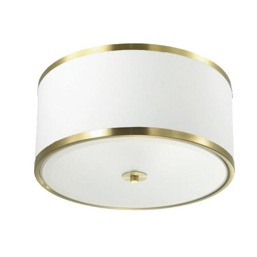 3lt Incandescent Flush Mount, Agb W/ Wh Shade