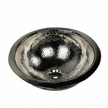16.5 Inch Hand Hammered Brass Round Undermount Bathroom Sink,<br>Nickel Plated Finish, With Overflow