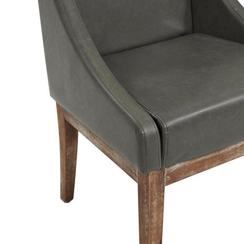 Houston Bonded Leather Dining Side Chair Drift Wood Legs, Vintage Gray