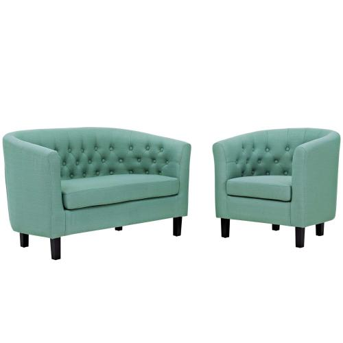 Modway - Prospect 2 Piece Upholstered Fabric Loveseat and Armchair Set in Laguna