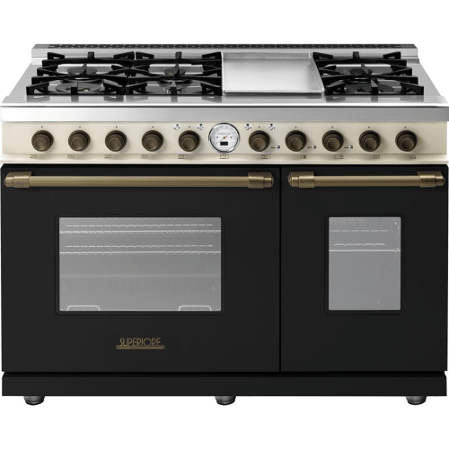 Range DECO 48'' Classic Black dual color, Bronze 6 gas, griddle and 2 electric ovens