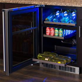 24-In Professional Built-In Dual Zone Wine And Beverage Center with Door Style - Stainless Steel Frame Glass, Door Swing - Left