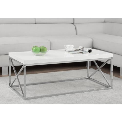 Gallery - COFFEE TABLE - GLOSSY WHITE WITH CHROME METAL
