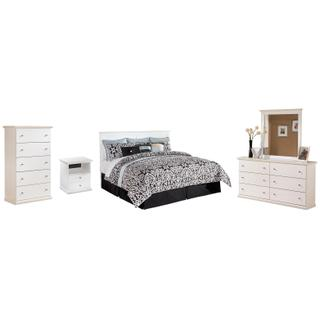 See Details - King/california King Panel Headboard With Mirrored Dresser, Chest and Nightstand
