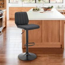Sabine Adjustable Swivel Gray Faux Leather and Black Metal Bar Stool