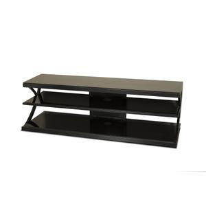 """60"""" Wide Stand - Black Glass Top and Shelves - Accommodates Most 65"""" and Smaller Flat Panels - No Tools Required"""
