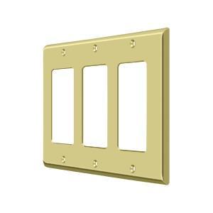 Switch Plate, Triple Rocker - Polished Brass