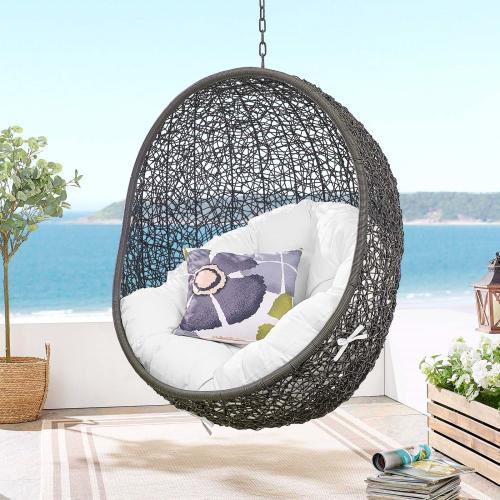 Eei2273grywhi In By Modway In Albany Ny Hide Outdoor Patio Swing Chair With Stand In Gray White