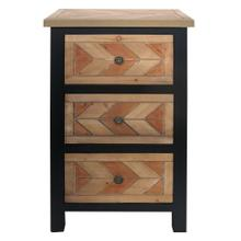 CHEVRON NATURAL  19in w. X 32in ht. X 16in d.  Three Drawer Wooden Chest with Metal Hardware