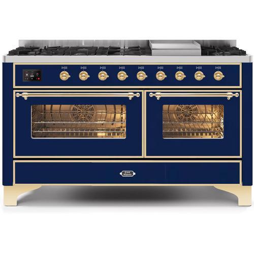 Gallery - Majestic II 60 Inch Dual Fuel Liquid Propane Freestanding Range in Blue with Brass Trim