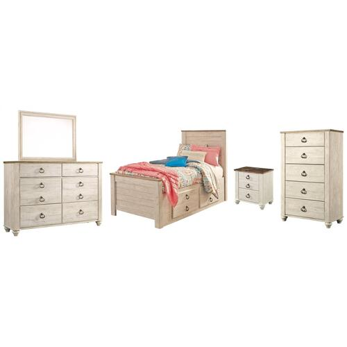 Product Image - Twin Panel Bed With 2 Storage Drawers With Mirrored Dresser, Chest and Nightstand