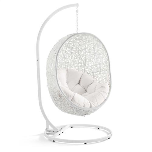 Hide Outdoor Patio Sunbrella® Swing Chair With Stand in White White