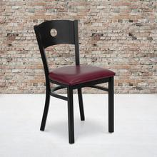 Black Circle Back Metal Restaurant Chair with Burgundy Vinyl Seat