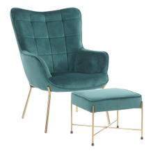 Izzy Lounge Chair + Ottoman Set - Gold Metal, Green Velvet