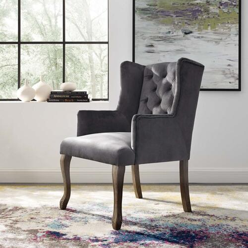 Realm French Vintage Dining Performance Velvet Armchair in Gray