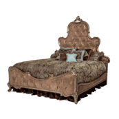 Cal King Panel Bed w/Brown Fabric (3pc)
