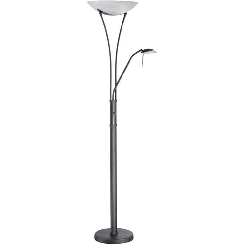 Torchiere/reading Lamp, Blk/frost, E27 Cfl 23wx2&jcd/g9 35w