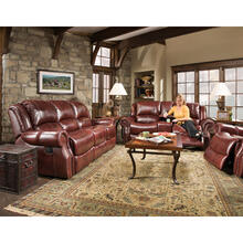 See Details - Hanover Aspen 100% Genuine Leather Double-Reclining Gliding Console Loveseat, Oxblood, HUM003LS-OB