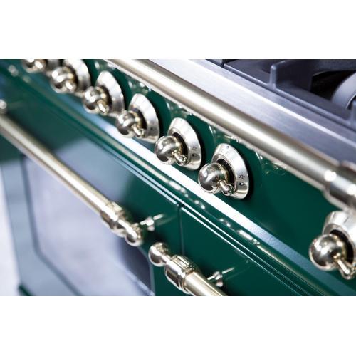 Nostalgie 40 Inch Dual Fuel Natural Gas Freestanding Range in Emerald Green with Brass Trim