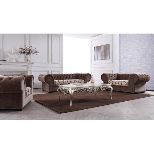 Divani Casa Metropolitan Transitional Brown Fabric Tufted Sofa Set