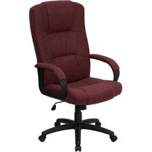 High Back Burgundy Fabric Executive Swivel Office Chair with Arms