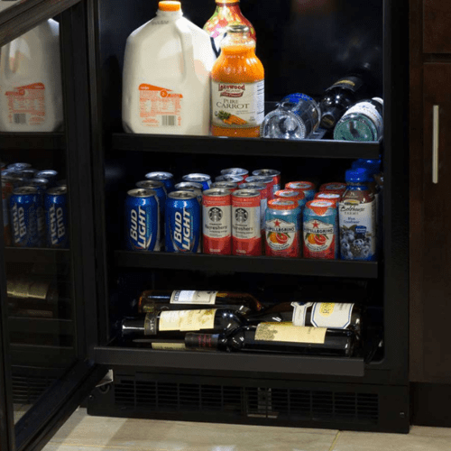 24-In Built-In Beverage Center With 3-In-1 Convertible Shelves with Door Style - Stainless Steel Frame Glass