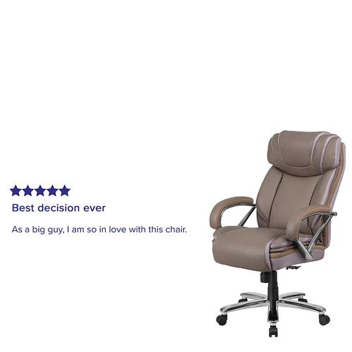 Gallery - HERCULES Series Big & Tall 500 lb. Rated Taupe LeatherSoft Executive Swivel Ergonomic Office Chair with Extra Wide Seat