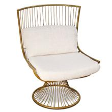 See Details - BURTON CHAIR  Linen Fabric on Brass Finish on Metal Frame