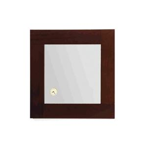 Antonio Miro square mirror with Iroko wood frame and a built-in clock. Product Image