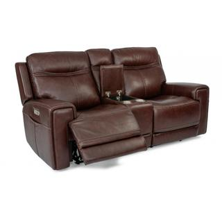Bravo Power Reclining Loveseat with Console & Power Headrests
