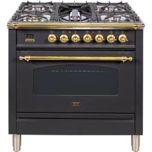 Nostalgie 36 Inch Dual Fuel Natural Gas Freestanding Range in Matte Graphite with Brass Trim