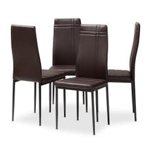View Product - Baxton Studio Matiese Modern and Contemporary Brown Faux Leather Upholstered Dining Chair (Set of 4)