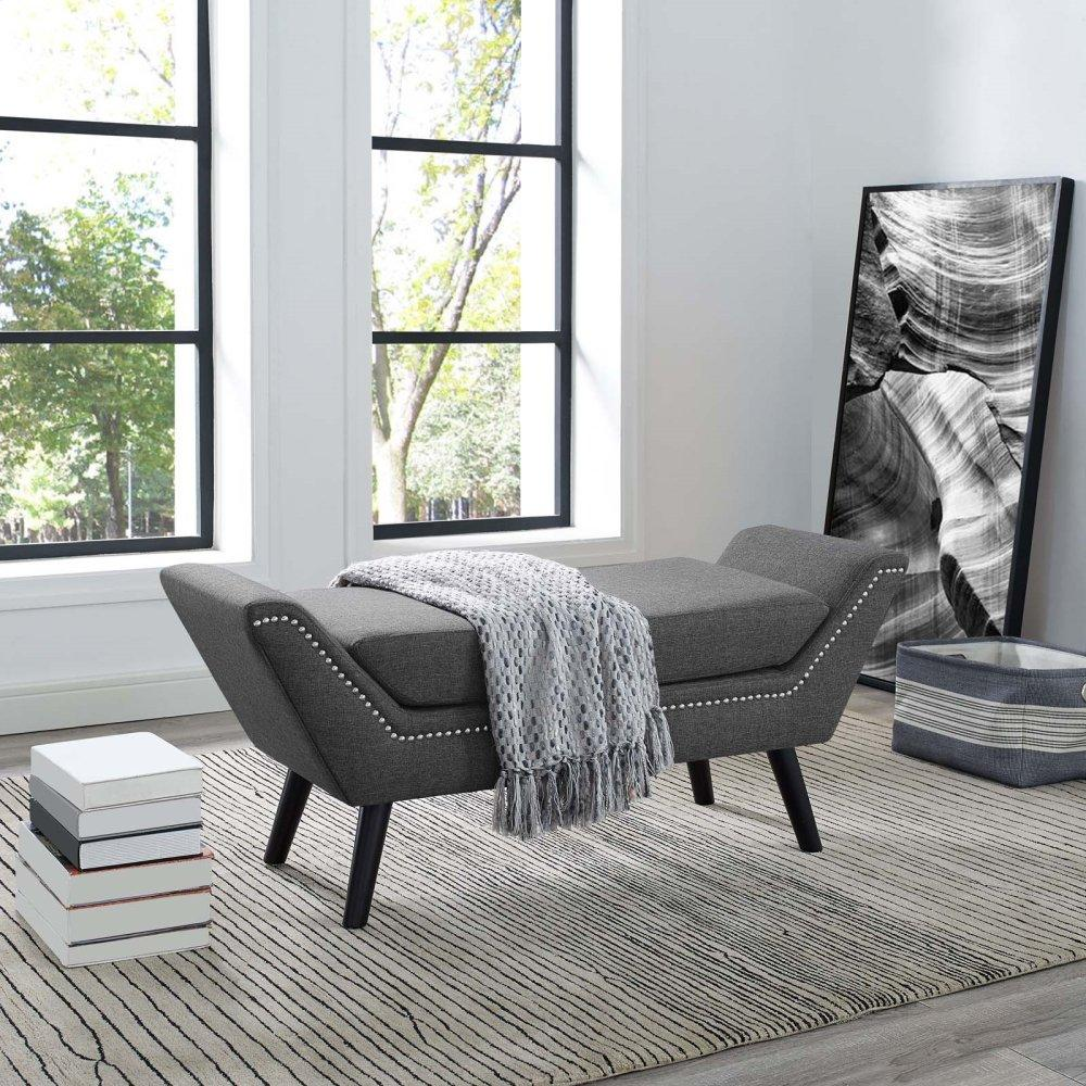 Gambol Upholstered Fabric Bench in Gray