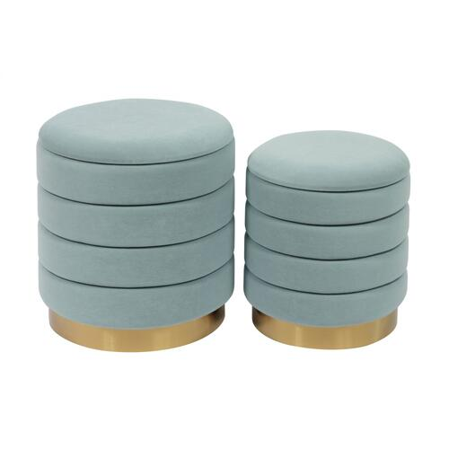 Saturn Sea Blue Storage Ottomans - Set of 2